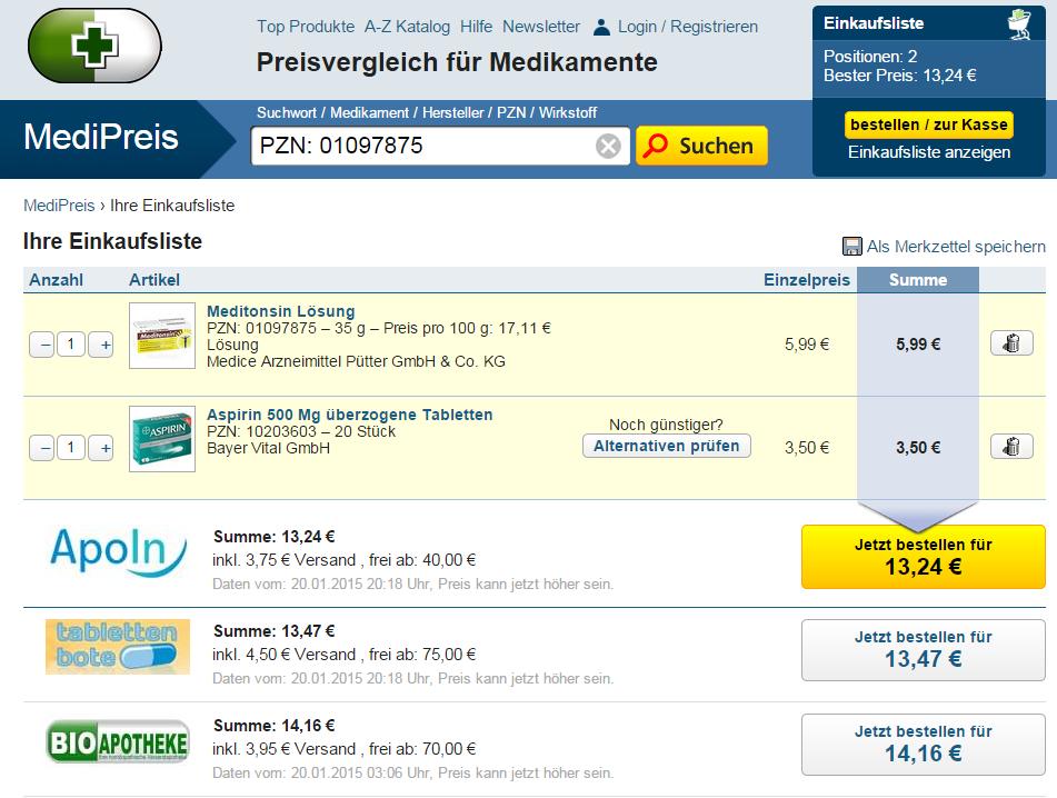 Medipreis.de Einkaufsliste