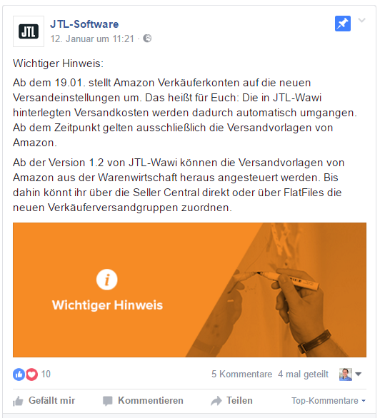 Screenshot 18.01.2017 Facebook - JTL-Software. Hinweis auf Amazon Versandeinstellungen