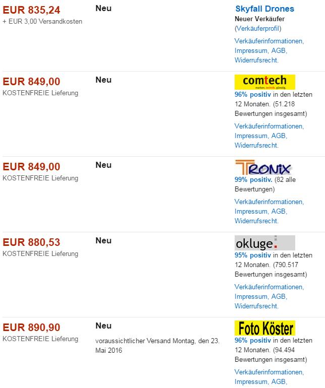 Alte Darstellung der Angebotsseite mit Händler-Logos. Quelle: Screenshot Amazon.de