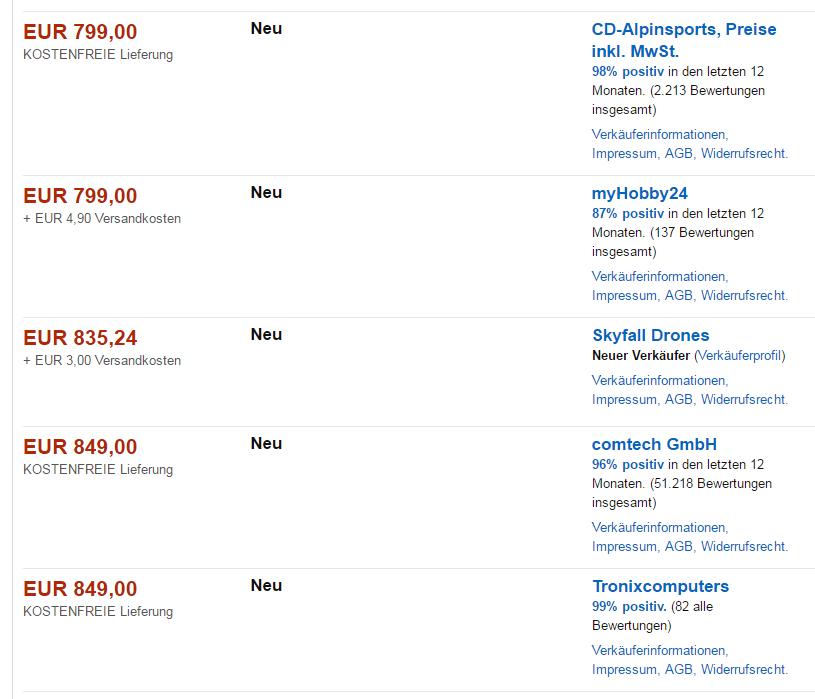 Neue Darstellung der Angebotsseite ohne Händler-Logos. Quelle: Screenshot Amazon.de