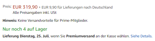 Screenshot Amazon Produktdetailseite