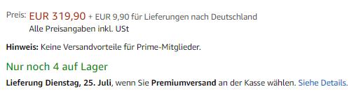 Screenshot Amazon Produktdetailseite