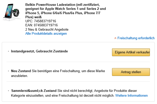 Screenshot Brandgating nach Zustand: Amazon mit Keepa-Erweiterung - Belkin PowerHouse Ladestation - Datum Januar 2017
