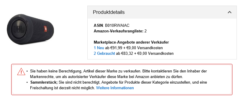 Screenshot - Sellercentral Amazon - Freischaltungsantrag JBL - Januar 2017