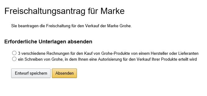 Screenshot Sellercentral Amazon - Freischaltungsantrag der Marke Grohe - Januar 2017