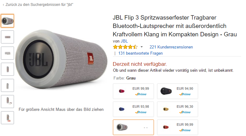 Screenshot amazon.de- JBL Flip 3 Grau - Januar 2017
