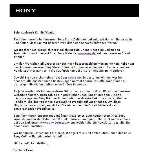 Screenshot Email - Sony